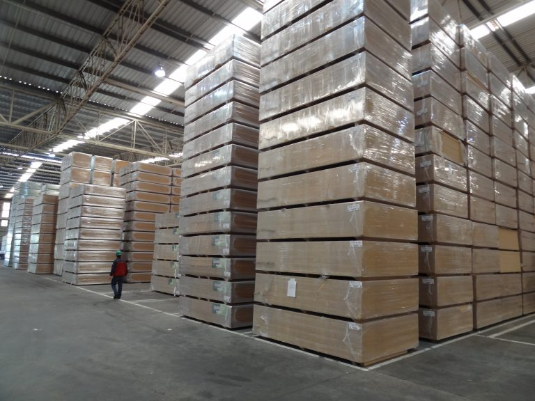 Wrapped MDF boards in storage